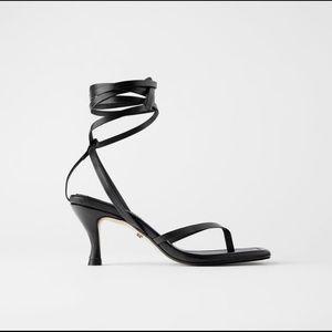 Zara Square Toe Leather Lace Up Sandal